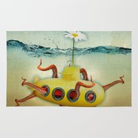 yellow submarine Area & Throw Rugs featuring yellow submarine in an octapuses garden by Vin Zzep
