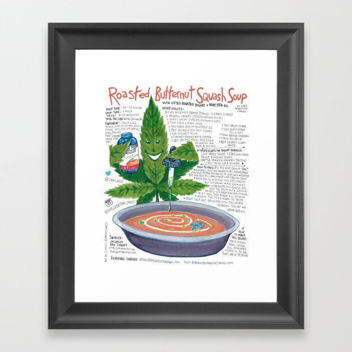 Roasted Butternut Squash Soup with lifted honeyed yogurt with hemp seed oil Framed Art Print