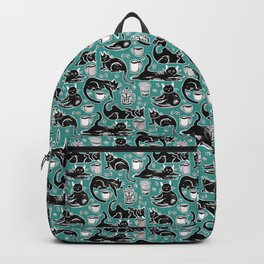 Black Cats & Coffee on Teal Backpack