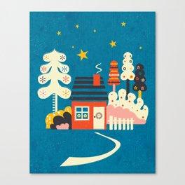Festive Winter Hut Canvas Print