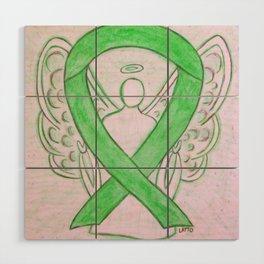 Lime Green Awareness Ribbon Angel Art Wood Wall Art