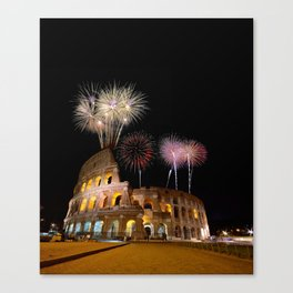Colosseum illuminated with fireworks in Rome. Canvas Print