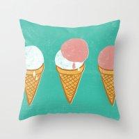 icecream Throw Pillows featuring Icecream by atomic_ocean