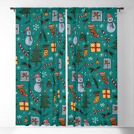 Christmas Holiday Teal Blackout Curtain