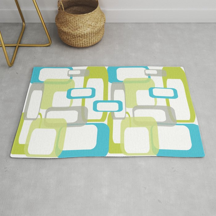 Mid Century Modern Rectangle Design Blue Green And Gray Rug By