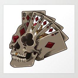 Poker Skull | Card Dealer Gambler Luck Jackpot Art Print