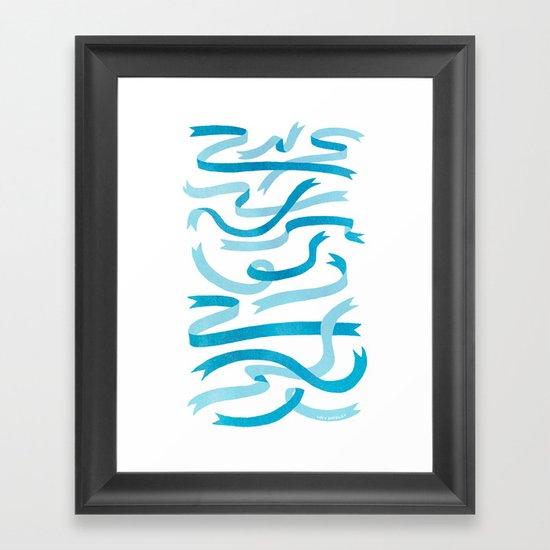 Ribbons (Blue) Framed Art Print