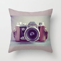 vintage camera Throw Pillows featuring Vintage Camera by Juste Pixx Photography