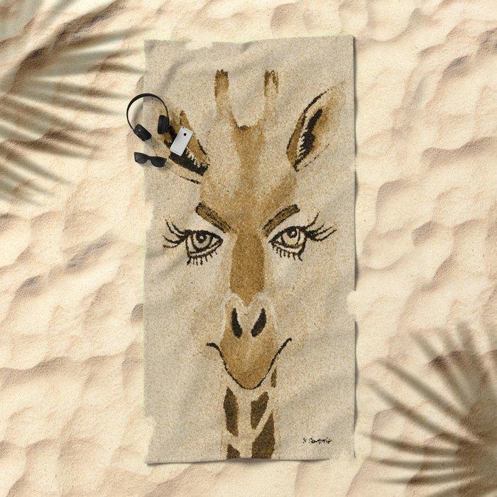 Funny Giraffe Beach Towel