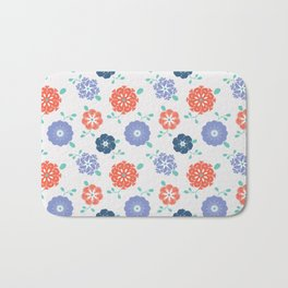 Block Print Flowers Bath Mat