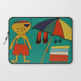 Cat pirate at the beach green Laptop Sleeve