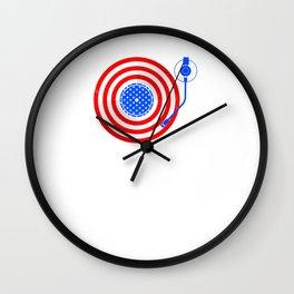 American Flag Vinyl Record Player Turntable Wall Clock