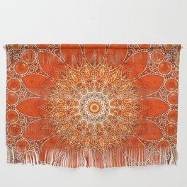 Detailed Orange Boho Mandala Wall Hanging
