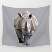 rhino Wall Tapestries featuring Rhino by Liam Brazier