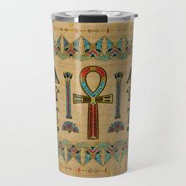 Egyptian Cross - Ankh Ornament on papyrus Travel Mug