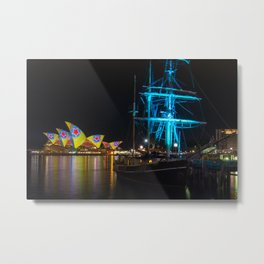 Southern Swan Ship and Sydney Opera House Metal Print