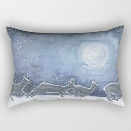 Siberian roe deer in the moonlight Rectangular Pillow