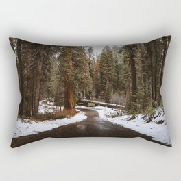 Tunnel Log Road in Sequoia Rectangular Pillow
