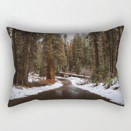 Tunnel Log Road in Sequoia Rectangular Pillow