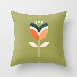 RETRO TULIP - ORANGE AND OLIVE GREEN Throw Pillow