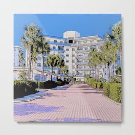 Sunset House illustration Marco Island, Florida Metal Print