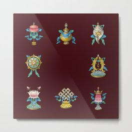 Ashtamangala / Eight Auspicious Buddhist Signs Metal Print