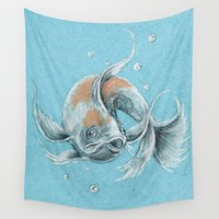 koi fish Wall Tapestries featuring Koi Fish by Daydreamer