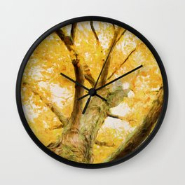 Leaves of Yellow Wall Clock