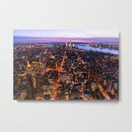 New York pink sunset Metal Print