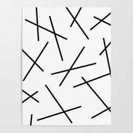 Black and white mikado stripes dash pattern Poster