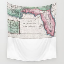Vintage Map of Florida, Georgia and The Carolinas Wall Tapestry