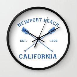 Vintage Newport Beach Vacation Illustration Wall Clock