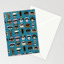 Ninja Animal Gang - Blue Stationery Cards
