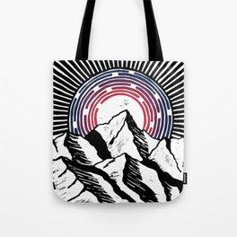 Linocut Mountain Sunrise Tote Bag