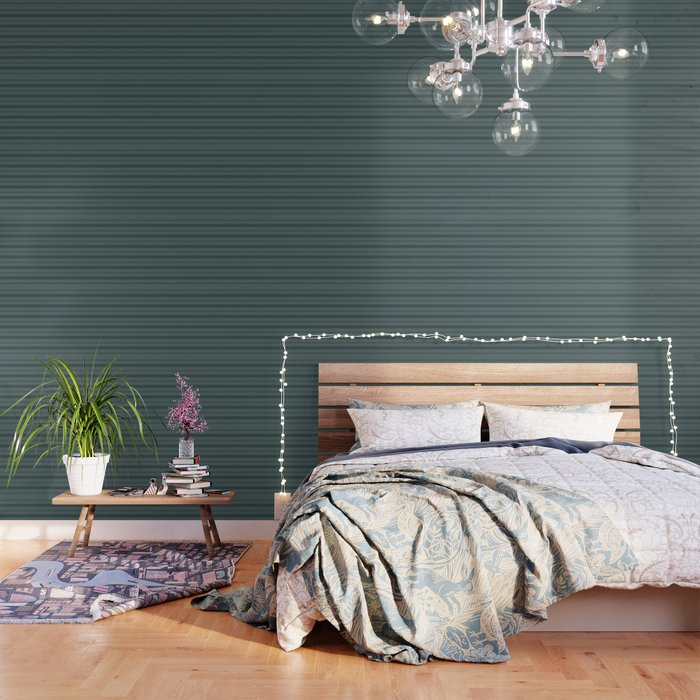 Night Watch Color Of The Year Thick And Thin Horizontal Stripes On Juniper Berry Green Wallpaper