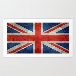 British flag of the UK, retro style Art Print