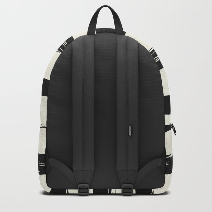 Tribal Paint Stripes Black and Cream Backpack