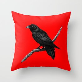Decorative Chinese Red Black Crow Design Throw Pillow