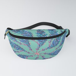 Teal Feather  Wheel Fanny Pack