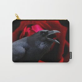 Surreal Crow against Red Rose A590 Carry-All Pouch