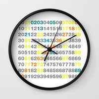 numbers Wall Clocks featuring Numbers by Andrew Reid