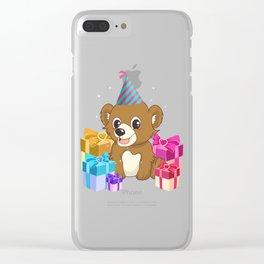 Cute Bear Birthday Hat Gift Idea T-Shirt Clear iPhone Case