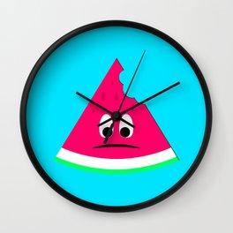 Cute sad bitten piece of watermelon Wall Clock