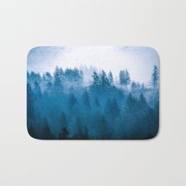 Blue Winter Day Foggy Trees Bath Mat