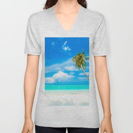 blue lagoon beach tropical island palm tree summer travel ocean white clouds Unisex V-Neck