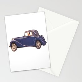Vintage Car Oil Painting Stationery Cards