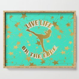 Figure Skating Live Life on the Edge in Aqua  with Gold Stars Design Serving Tray