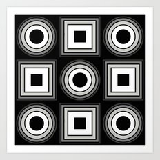 Fade To Black - Abstract, black and white, geometric, 3D effect artwork Art Print