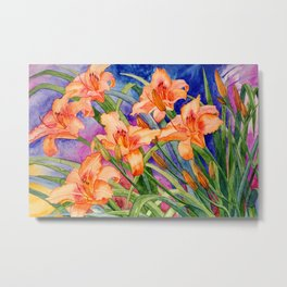 Daylilies in Orange Metal Print