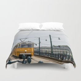 Yellow Budapest Tram Photography Duvet Cover